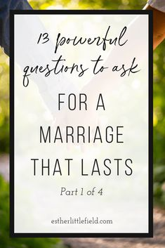 "13 Powerful Questions to Ask for a Marriage that Lasts - Most of us do not go into marriage saying, ""Well, I hope this lasts only 3 years"". Yet, once we are married, many of us struggle with how to make it work. Find out 13 questions you can ask to help 20 Years Of Marriage, Marriage Relationship, Relationships Love, Marriage Advice, Questions To Ask, This Or That Questions, Why Men Pull Away, Women In Leadership, Christian Women"
