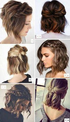 Romantic Valentines hairstyles for short hair for you in take a look Elegant Trouwkapsels Medium Hair Styles, Curly Hair Styles, Short Hair Braid Styles, Short Hair Wedding Styles, How To Style Short Hair, Short Hair For Weddings, How To Braid Your Own Hair Short, Up Do Medium Hair, Styling Short Hair Bob