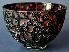 Timothy Harris Isle of Wight Studio Glass Cameo Orange Bowl Black Foliate Design http://www.bwthornton.co.uk/isle-of-wight-richard-golding-bath-aqua-glass.php