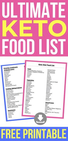 VISIT FOR MORE Ultimate Keto Diet Food List! Now you'll know what ketogenic foods to eat! Grab your free Pdf Printable of low carb foods to help you out with shopping at the grocery store & meal planning! Great for ketogenic diet beginners! Ketogenic Diet Meal Plan, Ketogenic Diet For Beginners, Keto Diet For Beginners, Keto Meal Plan, Diet Meal Plans, Ketogenic Recipes, Diet Recipes, Healthy Recipes, Diet Menu