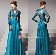 Custom Peacock Blue Long Sleeves Prom Party Dresses Lace Formal Evening Gowns | eBay