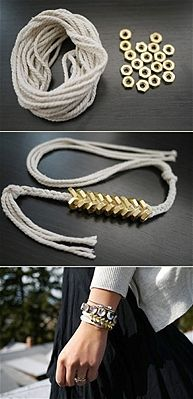 Take a few industrial pieces to create this lux-looking accessory.