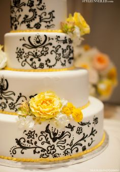 Yellow & Black & White Wedding Cake.