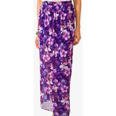 Forever 21 Aloha Maxi Skirt ($14) ❤ liked on Polyvore featuring skirts, print skirt, maxi skirt, long purple skirt, patterned maxi skirt and print maxi skirt