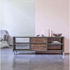 Meuble TV en bois recyclés et métal 160 Atelier kaki