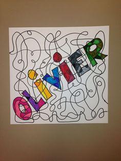 Line colors name - Art Lesson Plans Art Sub Plans, Art Lesson Plans, Classe D'art, Graffiti, 6th Grade Art, Grade 2, Fourth Grade, Art Folder, Ecole Art