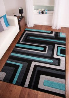 RETRO MODERN BLACK TEAL BLUE DARK GREY LARGE HAND CARVED RUGS  120x170 160x230
