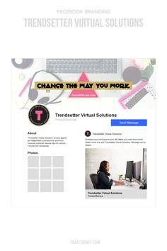 """I created a custom Facebook cover photo that matched up with the style of her mood board. I also rearranged some of the pieces of her primary logo to create a special tagline that stated """"Change the Way You Work."""" The circular alternative logo was used as her Facebook profile image as it just so happened to fit perfectly! #facebook #facebookbranding #smallbusiness #branding #brandidentity #socialmedia Logo Branding, Branding Design, Images For Facebook Profile, Branding Portfolio, Rack Card, Online Entrepreneur, Brand Packaging, Virtual Assistant, Cover Photos"""