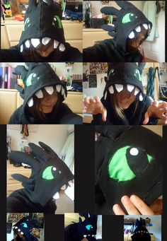 Toothless Hoodie Am I seriously the first to do this?awesome Okay so it's not the best sewing you will ever see, but nor is it the worst -. Toothless Party, Toothless Costume, Toothless Hoodie, Dragon Costume, Toothless Toy, Dragon Birthday, Dragon Party, Halloween House, Halloween Costumes For Kids