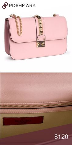 Large Valentine Push Lock Flap Bag Valentino inspired flap bag. Light pink bag with gold hardware. Price Reflects Authenticity!                                                       Please Do Not Buy Listing on Vacation! Leave a message and I'll get back to you. Valentino Bags Crossbody Bags