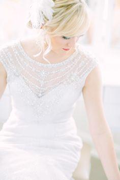 Delicate beading: http://www.stylemepretty.com/2014/11/10/summer-new-jersey-lakeside-wedding/   Photography: Love & Light - http://loveandlightphotographs.com/