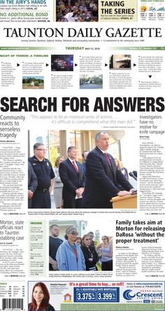 The front page of the Taunton Daily Gazette for Thursday, May 12, 2016.