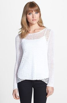 $158 BNWT EILEEN FISHER Organic Linen WHITE Fine Gauge Wave Knit Top S M L XL #EileenFisher #KnitTop