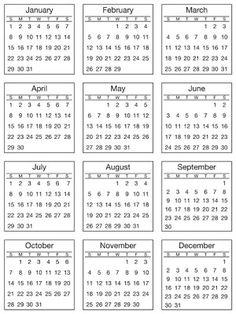 Mini 2012 Calendar