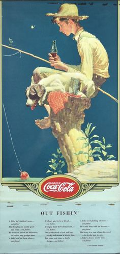 Norman Rockwell: Out Fishin' - 1935 Coca-Cola Calendar from americanart on Ruby Lane