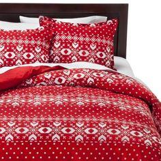 Bedding for Christmas Season: Fair Isle Flannel Duvet Cover Set