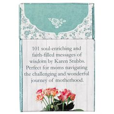 101 soul-enriching and faith-filled messages of wisdom by Karen Stubbs. Perfect for moms navigating the challenging and wonderful journey of motherhood.  For Mothers, here are 51 - 2 sided, playing card size, inspirational messages in a box. Author Karen Stubbs has written 51 loving, faith-filled messages and chosen 50 verses from Scripture to accompany them. Given all at once to draw from for a 'lift', or left about as