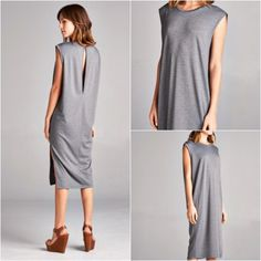 NWT || Gray Marle French Terry Sleeveless Dress Loose fit, sleeveless, round neck, midi length dress. Has side slits. Long keyhole detail at back. This dress is made with heavyweight french terry knit fabric that is extremely soft, drapes beautifully and stretches very well. This fabric is not sheer. Available in Small, Medium and Large.		 Fabric 63% Polyester 34% Rayon 3% Spandex Made in U.S.A Boutique Dresses Midi