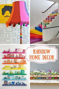 Do you want to add a splash of colour to your home.  Here is a roundup of some great rainbow home decor ideas