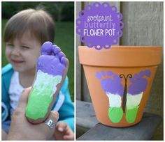 Butterfly Footprints on pots Kids Crafts, Baby Crafts, Toddler Crafts, Crafts To Do, Projects For Kids, Diy Projects, Garden Projects, Toddler Activities, Flower Pot Crafts