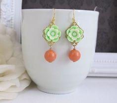 Mint Green Sakura Flower Earrings. Spring Summer with Coral Pearl Drops Floral Ear Accessory. Swarovski Pearl, Lead Free Ear Jewelry