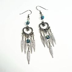 Only $7.29! - SALE Bohemian Silver Heart Chandelier Earrings w/Native American Style Feather Charms & Opalescent Montana Blue Fire Polished Glass Faceted Beads FREE USA SHIPPING -- [2 Available] https://www.etsy.com/listing/397916127/sale-bohemian-silver-heart-chandelier