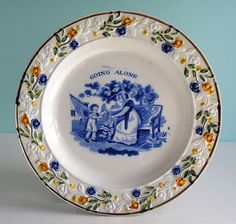 Superb Staffordshire Pearlware Prattware Child's Plate ~ GOING ALONE ~ c1820 NR