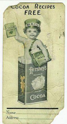 Hershey recipe offer Hershey Recipes, Cocoa Recipes, Old Recipes, Hershey Candy, Hershey Chocolate, Chocolate Heaven, Vintage Food Labels, Vintage Recipes, Vintage Ephemera