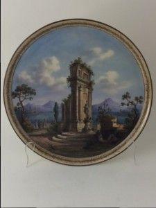 #KPM #Berlin #Porzellan   Platte mit Ruinenmalerei in der Anmutung von antiker italienischer Keramik