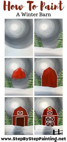 Acrylic Painting Tutorials, Diy Painting, Painting For Kids, Christmas Paintings On Canvas, Step By Step Painting, Painting Lessons, Learn To Paint, Christmas Art, Art Projects