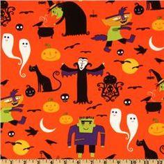 Eerie Alley Characters Pumpkin fabric at Fabric.com. #Halloween
