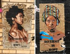 """Diversity is Hope"" street art by French artist RAF URBAN"