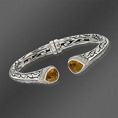 Scott Kay Citrine and .45 ct. t.w. Diamond Bangle Bracelet In Sterling Silver