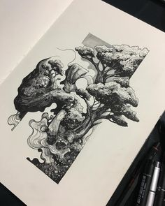 Sketch Book The intricate detail and the experimentation of the application of the medium is interesting. Pen Sketch, Art Sketches, Pencil Drawings, Art Drawings, Abstract Illustration, Black And White Illustration, Pen Art, Art Sketchbook, Art Inspo
