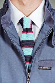 Square Knit Multi Stripe Tie