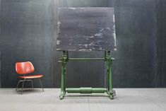 German Vintage Industrial ISIS Cast Iron Drafting Table Artist Paint Easel, $2000