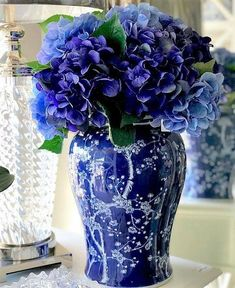 Ginger jars are such a versatile decor piece! Simply remove the lid & add florals to make a stunning style statement in your home! Beautiful Flower Arrangements, Blue Flowers, Beautiful Flowers, Arrangements Ikebana, Floral Arrangements, Blue And White Vase, White Vases, Blue Hydrangea, Hydrangeas