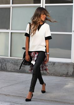 Blouse: Rag & Bone via Neiman Marcus Leather skinnys: J Brand Plaid shirt: Zara Heels: Zara Blog:Sincerely, Jules