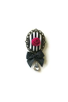 Polymer Clay Cameo Stripes And Rose With A By Peekaboocornershop, $18.00