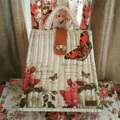 Decoupage rattan wicker purse, handmade woven bag, floral bag, floral vintage bag, floral decoupage purse, decoupage bag, tote bag