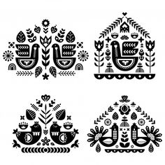 Folk Art Pattern Collection With Four Single Pattern. Stock Vector - Illustration of folk, background: Scandinavian Pattern, Scandinavian Folk Art, Scandinavian Embroidery, Folk Art Flowers, Flower Art, Mundo Hippie, Motifs Textiles, Foto Transfer, Floral Embroidery Patterns