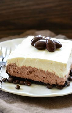 Layered Chocolate Espresso Cheesecake Dessert (No Bake). Unbelievable, silky smooth cheesecake dessert that you can't live without!