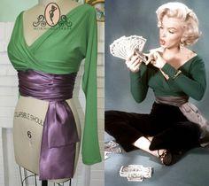 Marilyn MonroeGreen VNeck Blouse with Cummerbund by Morningstar84, $85.00