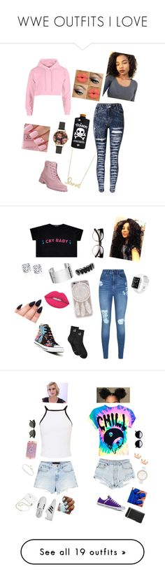 """WWE OUTFITS I LOVE"" by catilynhartzog ❤ liked on Polyvore featuring Timberland, Valfré, Sydney Evan, Olivia Burton, Lipsy, Converse, Dinh Van, Lime Crime, Calvin Klein and Miss Selfridge"