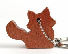 Fox Key Chain Wood Animal Key Holder Woodland Fox Key Ring