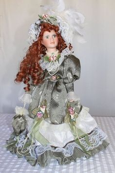 "Cathay Collection 19"" Porcelain Doll  Green Dress 5,000 collection"