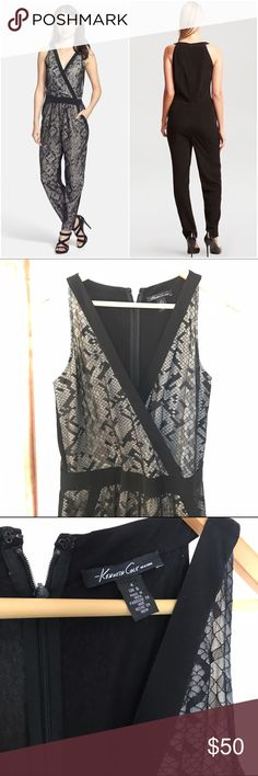 """Kenneth Cole Alice Jumpsuit 4 Gorgeous lace jumpsuit by Kenneth Cole. Geometric lace overlays the front of a contemporary jumpsuit with a bold black border outlining the surplice bodice and front pockets. Approx 27"""" inseam. Back zip closure. 60% polyester, 40% nylon. Kenneth Cole Dresses Maxi"""