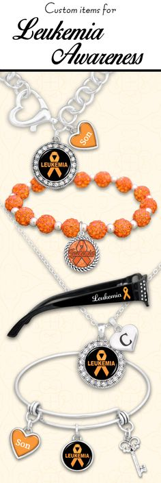 Custom Leukemia Awareness jewelry and gifts - $9.98. Support loved ones and the cause with custom initials, family members, and reading glasses with custom strength. 30% of the profits go to the American Cancer Society!