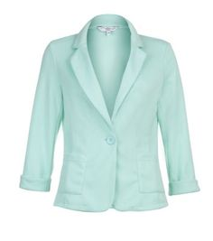 Mint Green One Button Roll Sleeve Blazer