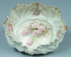 """RS Prussia Bowl, 10""""d, Mold 12, lettuce form; FD 88, large white roses with white shadow leaves on four inner sides of bowl, satin finish with gold on edge of rim"""